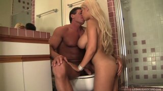 Buxom blondie Bridgette B gives a solid blowjob to Lee Stone's dick