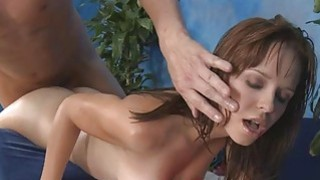 Jerking off beautys snatch turns her into a slut