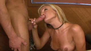 Sexy blonde Val Malone seduces her collegues in office
