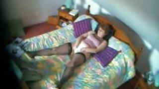 Spy vid my mom fingering in her bedroom