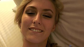 POV scene with a young skinny blonde