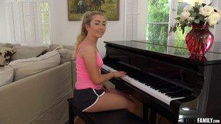 Pretty blonde teen swallows rock hard ramrod like a pro