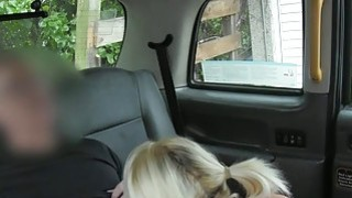 Pigtailed blonde passenger gets pussy banged in the cab
