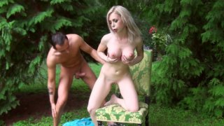 Isabella Clark gets her twat poked on the green lawn in the yard