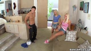 Three adorable blondes Nicole Aniston, Sara Monroe and Vanessa Cage seduce a couple of guys