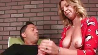 Milf Jerks His Huge Cock Till His Balls Tighten Up