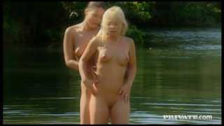 Dirty-minded lesbo Sharka Blue enjoys pleasing the kinky chick outdoors