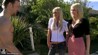 Nikki Benz and Monique Alexander start pleasing each other outdoors and invite a stranger to join them